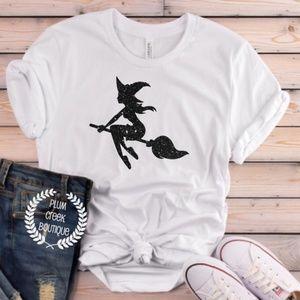 NEW White Broomstick Halloween TShirt Sz XS - 4X